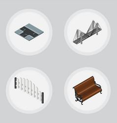 Isometric urban set of sitting barricade vector