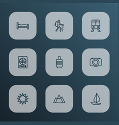Journey outline icons set collection of suitcase vector