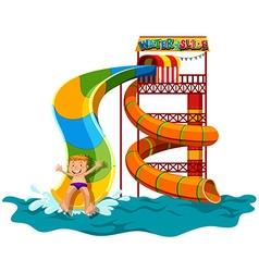 Man sliding down the water slide vector image vector image