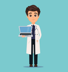 Medical doctor in white coat holding modern vector