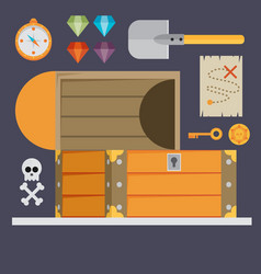 open treasure chest and pirates stuff isolated vector image vector image