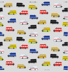 Seamless pattern with minibuses vector