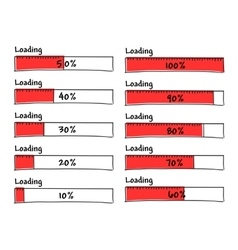 Set of progress loading bars from 0 to 100 percent vector image vector image