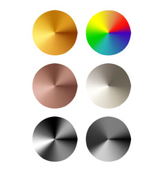 Set of round templates of metal button vector