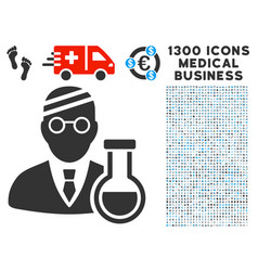 sick chemist icon with 1300 medical business icons vector image vector image