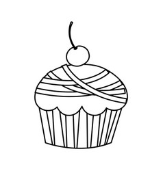 silhouette muffin with cherry icon vector image vector image