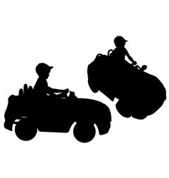 Silhouettes of small boy driving toy car vector image vector image