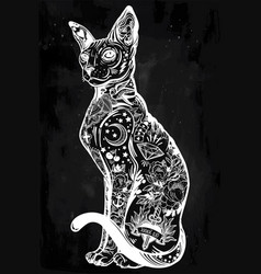 Vintage style cat with body flash art tattoos vector