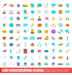 100 engineering icons set cartoon style vector