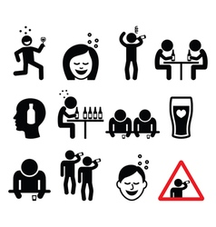 Drunk man and woman people drinking alcohol icons vector