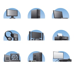 Set of computers and electronics devices icons vector