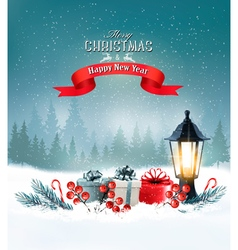 Christmas background with a lantern and a colorful vector
