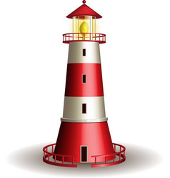 Red lighthouse isolated on white background vector