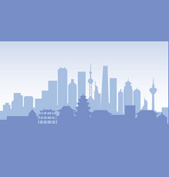 China silhouette architecture buildings town city vector