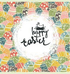 Easter eggs pattern colorful background and happy vector