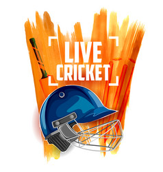 Player helmet on cricket sports background vector