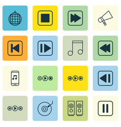 Set of 16 music icons includes song ui following vector