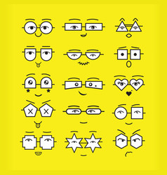 Cute black emoticons faces with different vector