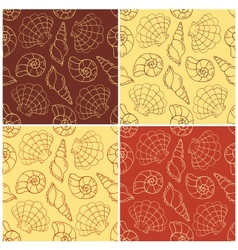 Seamless patterns with cockleshells vector