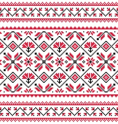 Ukrainian Slavic folk knitted red emboidery print vector image
