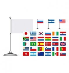 flag set on white background vector image