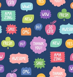 Colorful phrases seamless pattern on blue vector