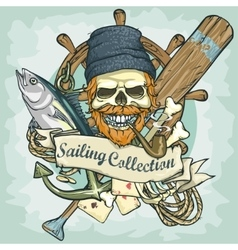 Fisherman skull logo design - sailing collection vector