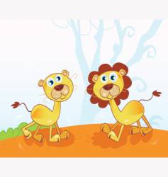 African lions cartoon vector