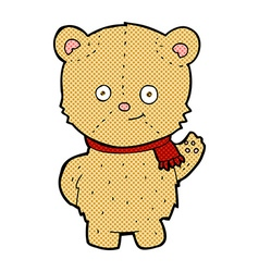 comic cartoon bear waving vector image