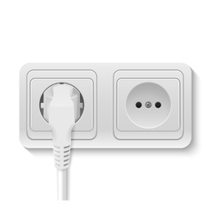 Power socket with cable plugged vector