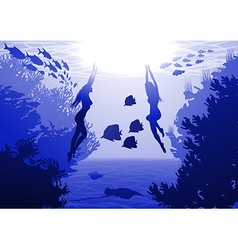 Underwater with Mermaids vector image