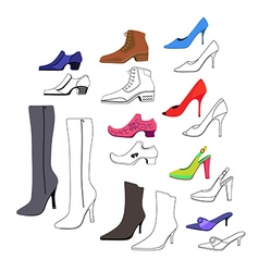Colored outlined flat lay man women shoes set vector image