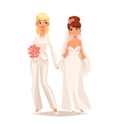 Wedding of two lesbians girls vector