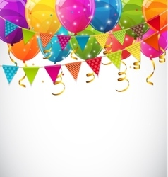 Color glossy balloons and party flags background vector