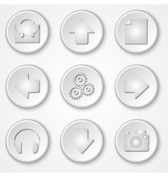 abstract white round paper icon multimedia set vector image vector image