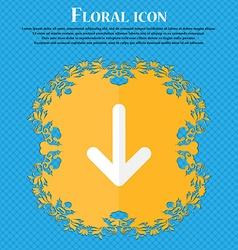 Arrow down download load backup floral flat design vector