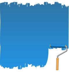 blue background with paint roller vector image vector image