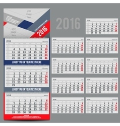 calendar 2016 - Planner for three month vector image vector image