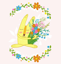 cute bunny with flowers in a frame of flowerscute vector image