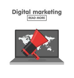digital marketing concept megaphone and laptop vector image vector image