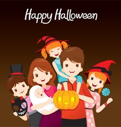 Family happy halloween together vector