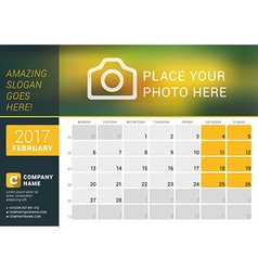 February 2017 desk calendar for 2017 year design vector
