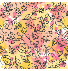 Floral seamless pattern herbal tea and wild vector