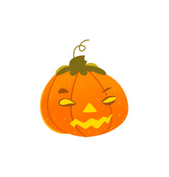 halloween pumpkin lantern with light inside vector image