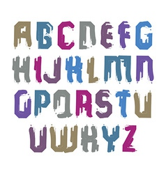 Handwritten colorful uppercase letters stylish vector