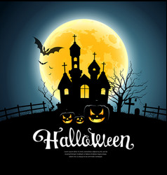 happy halloween party house on moon vector image vector image