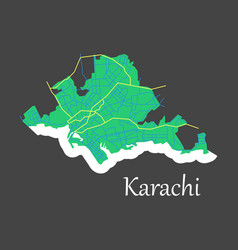 karachi pakistan colorful flat map streets vector image vector image