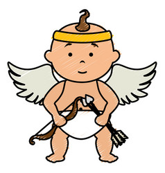 little cupid character card vector image