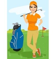 Pretty female golfer with golf club vector