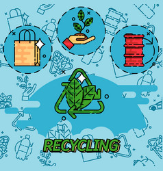 recycling flat concept icons vector image vector image